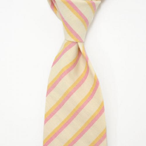 DARKNOT【ダークノット】 ネクタイ TIE CALABRITTO B 24 1 cotton regimental stripes PINK YELLOW (コットン レジメンタル ピンクイエロー)